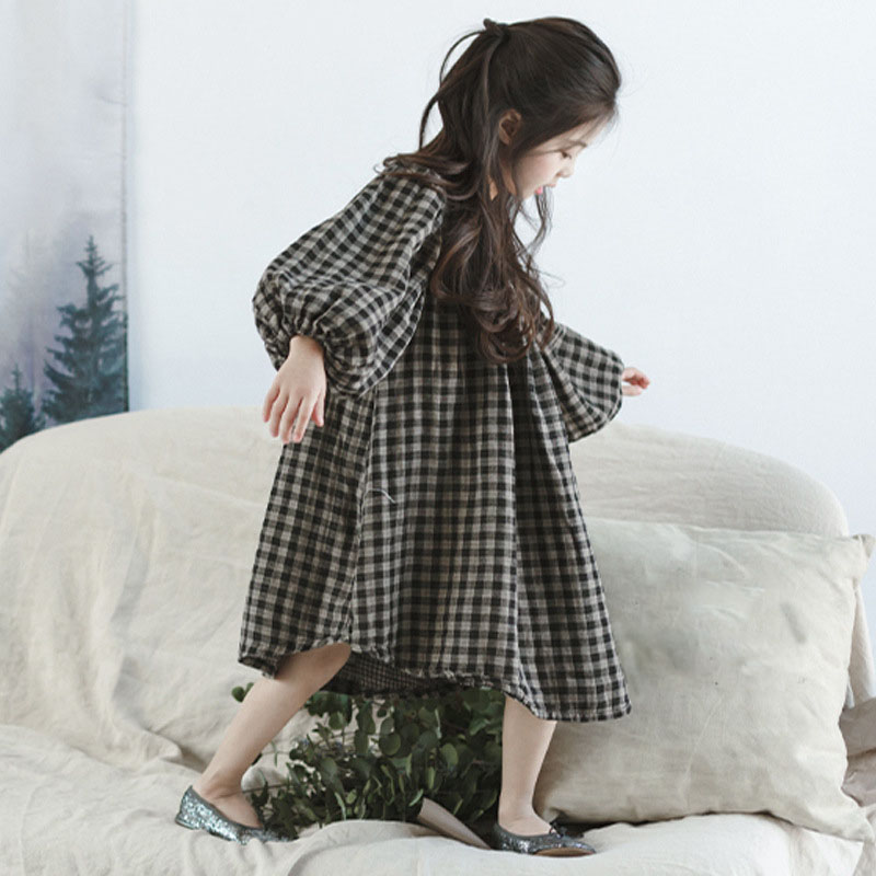 цены  school cotton ruffles plaid princess dress for girls kids clothes autumn 2017 lantern sleeve dress for girl children clothing