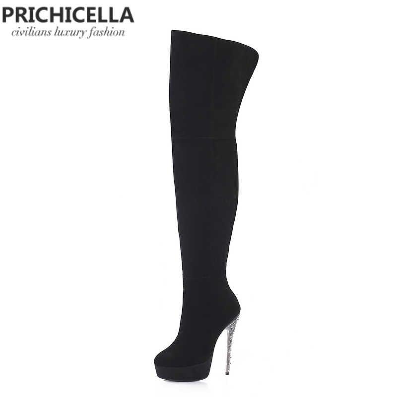 Pricicella/черные замшевые блестящие высокие сапоги до бедра на шпильке и платформе высокие сапоги из натуральной кожи size34-42