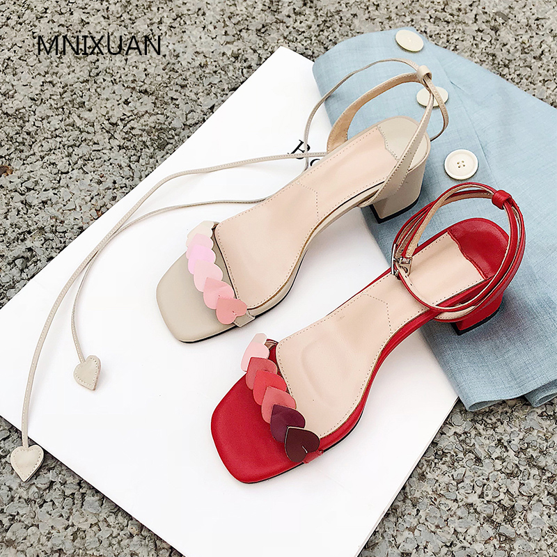 MNIXUAN Korean sweet student summer gladiator sandals women shoes 2019 new sheepskin open toe lace up block high heels size 40MNIXUAN Korean sweet student summer gladiator sandals women shoes 2019 new sheepskin open toe lace up block high heels size 40