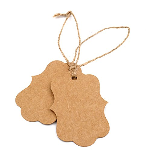 Купить с кэшбэком 100pcs blank Kraft paper tags with hole for wedding party decoration gift tags Packaging Hang Tags school stationery supply