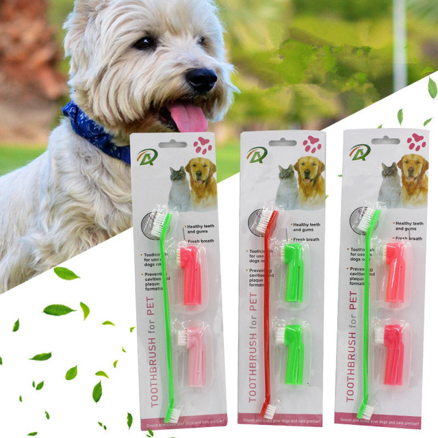 3 Pcs/set Double Head Soft Pet Finger Toothbrush 1