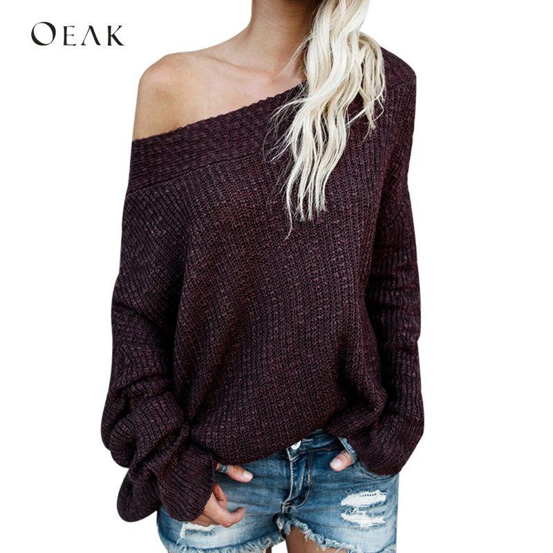 OEAK свитер с открытым плечом длинный рукав Свободные пуловеры женские 2019 Осенние повседневные вязаные свитера модная пикантная одежда Большие размеры