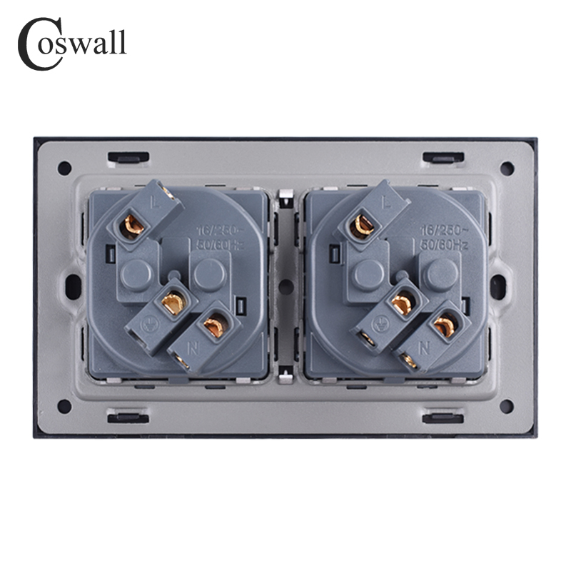 cheapest Coswall Wall Glass Panel 16A EU Russia Spain Double Socket Grounded With Children Protective Door Black Color 146 86mm