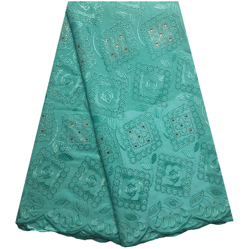 Teal Swiss Lace Fabric 2018 Swiss Voile Lace In Switzerland High Quality African Dry Cotton Voile Lace Fabric For Wedding 1339