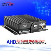 Newest 4CH HD 720P AHD Car Mobile Dvr Dual SD Card 24H Monitoring CCTV Surveillance System