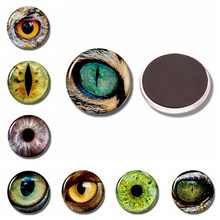 Owl Bird Eye 30 MM Fridge Magnet Smaug Snake Beast Eye Glass Cabochon Magnetic Refrigerator Stickers Note Holder Home Decoration(China)