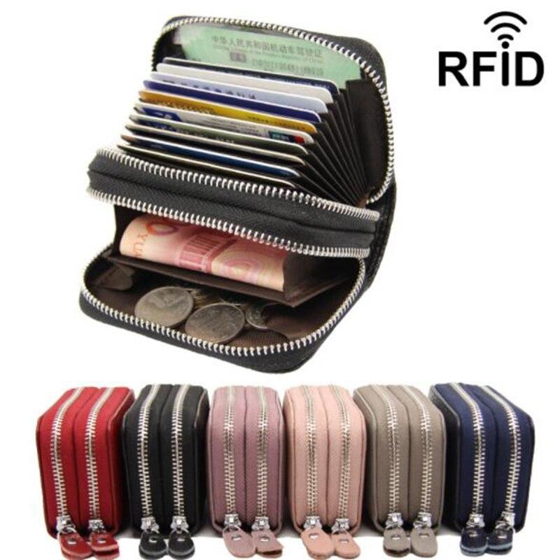 Carteira de couro genuíno titular do cartão de visita carteira dupla zíper banco caso de cartão de crédito titular id rfid carteira moeda bolsa vermelho rosa