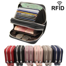 Genuine Leather Women Business Card Holder Wallet Double Zipper Bank Credit Card Case ID Holders RFID Wallet Coin Purse Red Pink цена
