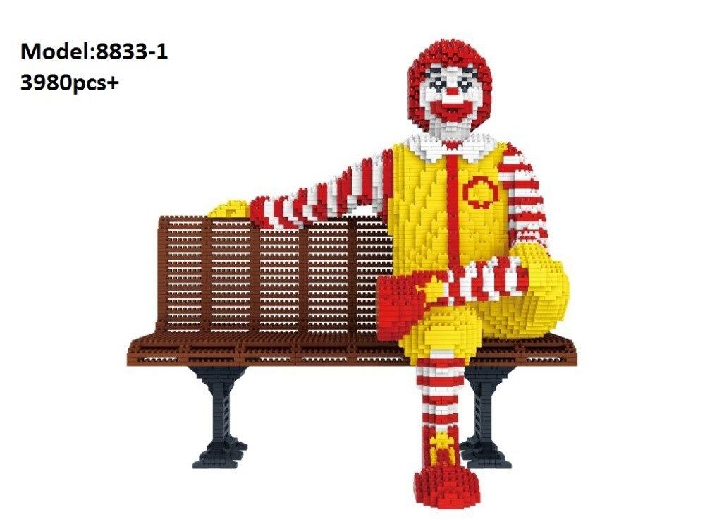3980 pièces PZX Mini building block de Bande Dessinée chiffres briques Donalds Modèle Brinquedos pour les Enfants Cadeaux D'anniversaire jouets pour enfants 8833