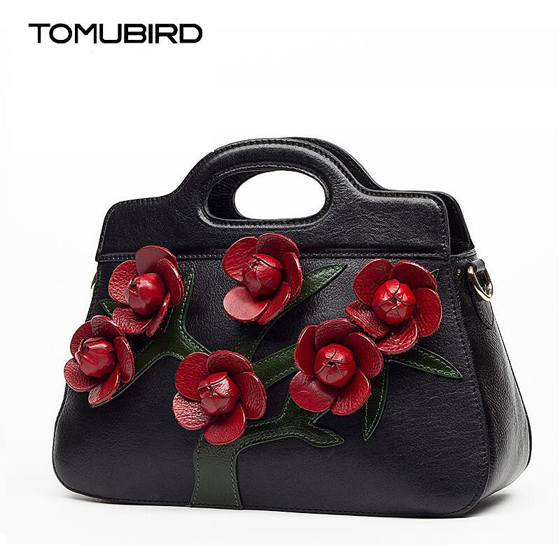 TOMUBIRD new superior cowhide leather Leaf Designer Three-dimensional hand Floral Genuine Leather bag Tote women Handbags 2018 new superior cowhide leather classic designer hand embossing top leather tote women handbags genuine leather bag medium bag