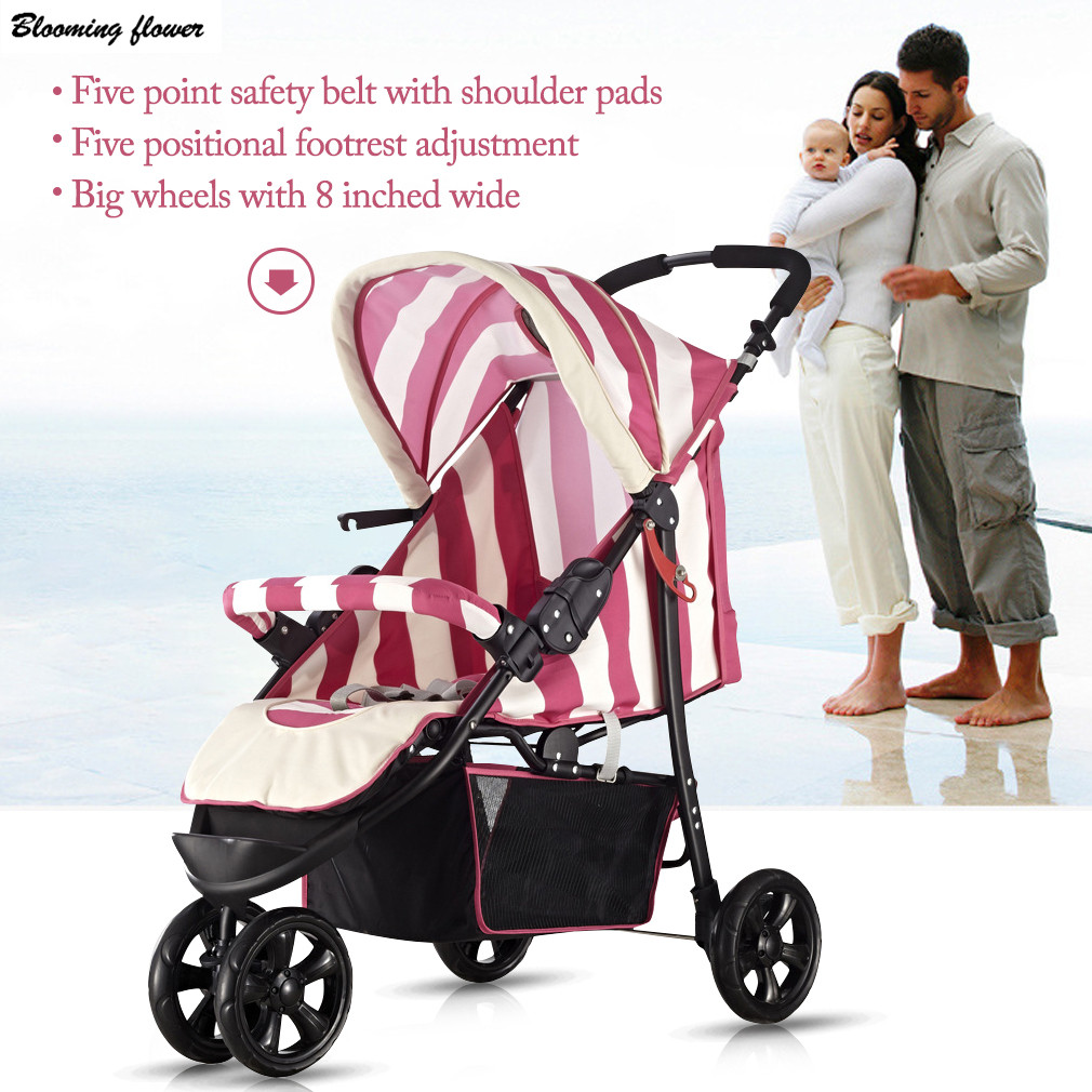Lightweight Baby Stroller Three Big Rubber Wheels Foldable Portable Traveling Stroller With Umbrella Canopy Baby Carriage Safety esspero canopy