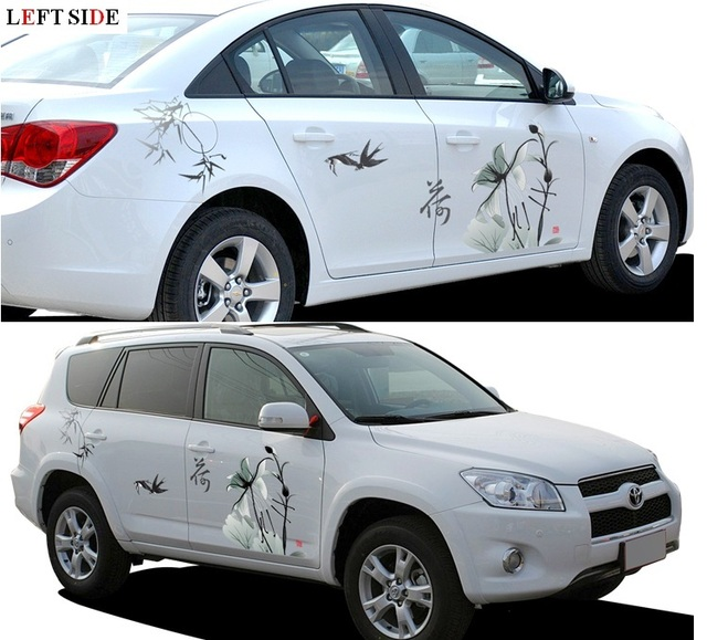 For white and silver car whole body sticker both sides hood styling garland pink chinese ink