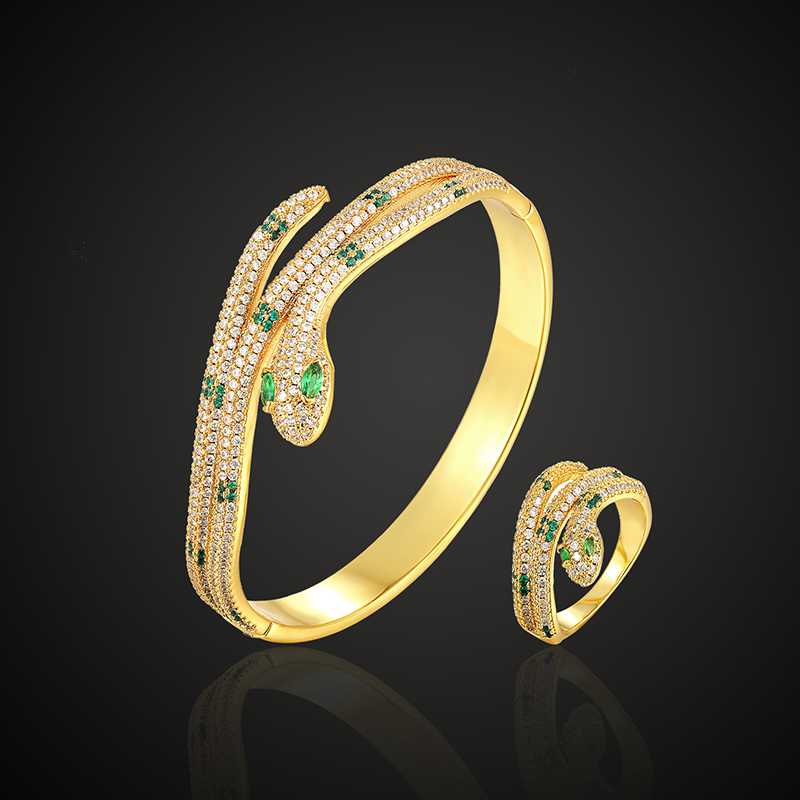 Theresa luxury brand bangle with ring jewelry set animal snake classic green stone 3A cubic zircon micro pave setting fashion