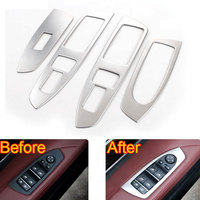 4pcs Set Stainless Steel Door Armrest Window Lift Switch Button Cover Garnished Bezel For 7 Series