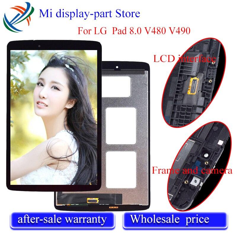 Pour LG G Pad 8.0 V480 V490 LCD écran tactile matrice numériseur panneau capteur verre tablette assemblée remplacement avec cadre