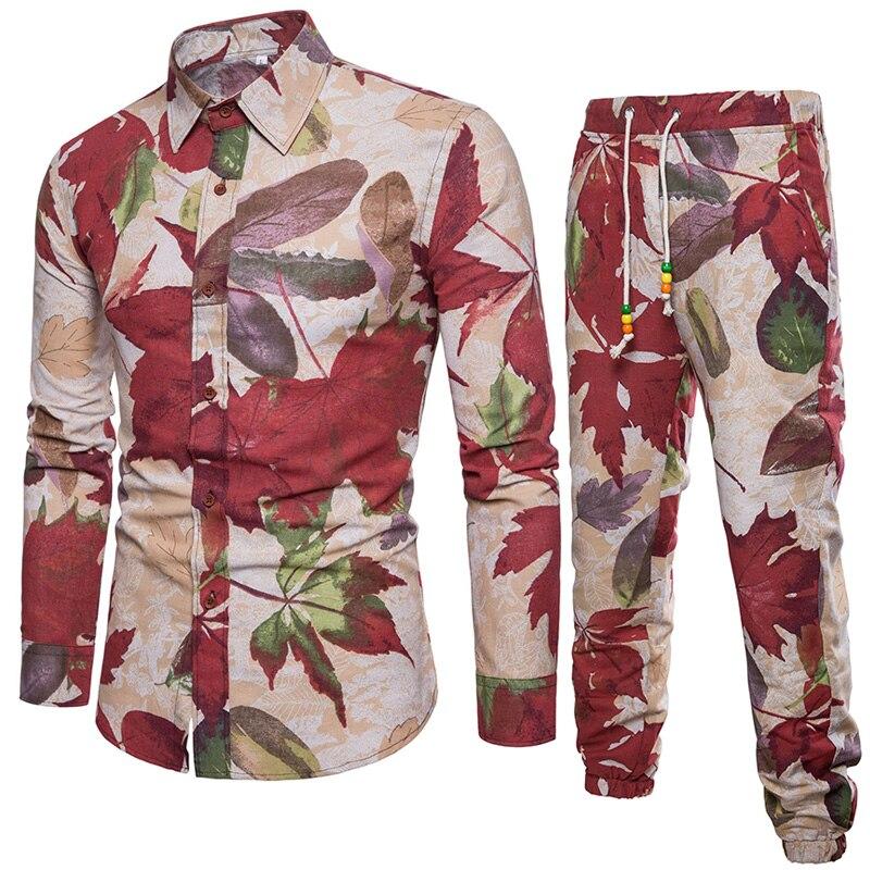 e3bb65b5392 Рубашка + Штаны печатных Рубашки для мальчиков Для мужчин 2018 Camisa  Masculina Slim Fit Для мужчин S больших размеров Для мужчин рубашка узкого  кроя M-5XL