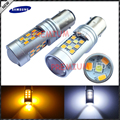 2pcs High Power Samsung 28-SMD 1157 Dual-Color Switchback LED Bulbs For Front Turn Signal (7-White 21-Amber)