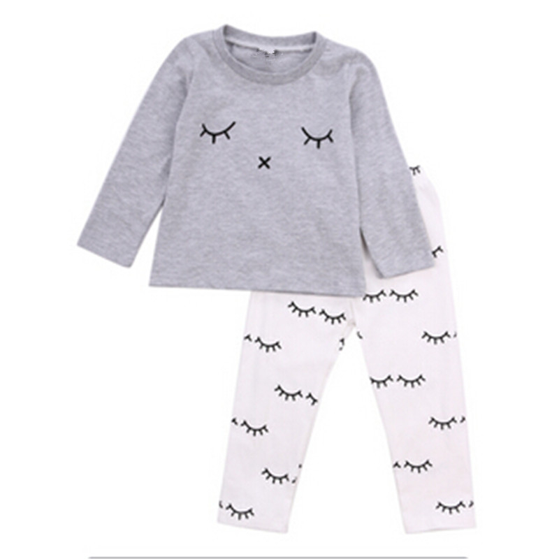 2017 autumn Winter baby boy girl clothes Long sleeve Top + pants 2pcs sport suit baby clothing set newborn infant clothing 0-24M