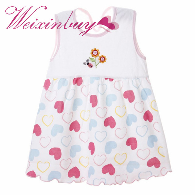 dc282e4d6f WEIXINBUY Summer Infant Baby Girl Cute Dress White Printed Floral  Sleeveless A Line Cotton Dresses Kid Clothes Random Color 1 2Y-in Dresses  from ...