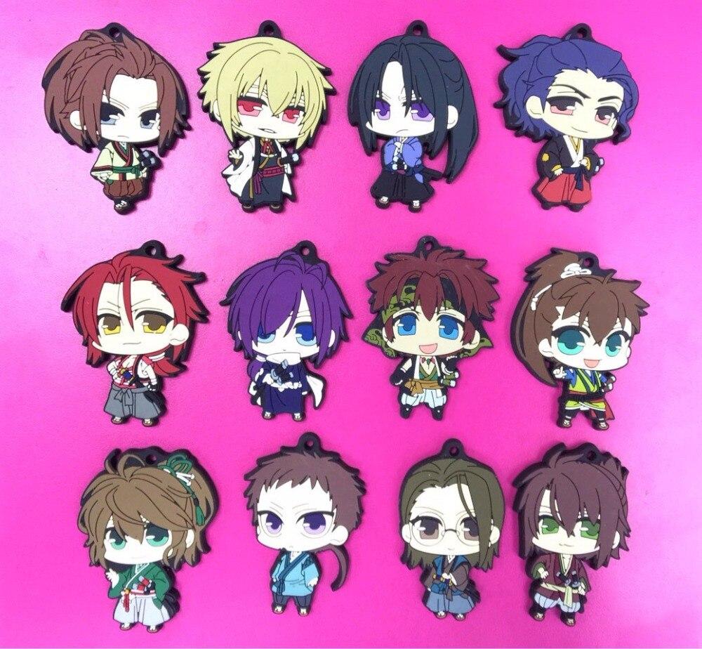 Image 3 - 12pcs/lot Random Send Hakuouki BoYing ghost Anime keychain Yukimura Jiziru Hijikata Toshizo Okita Rubber mobile phone strap-in Key Chains from Jewelry & Accessories