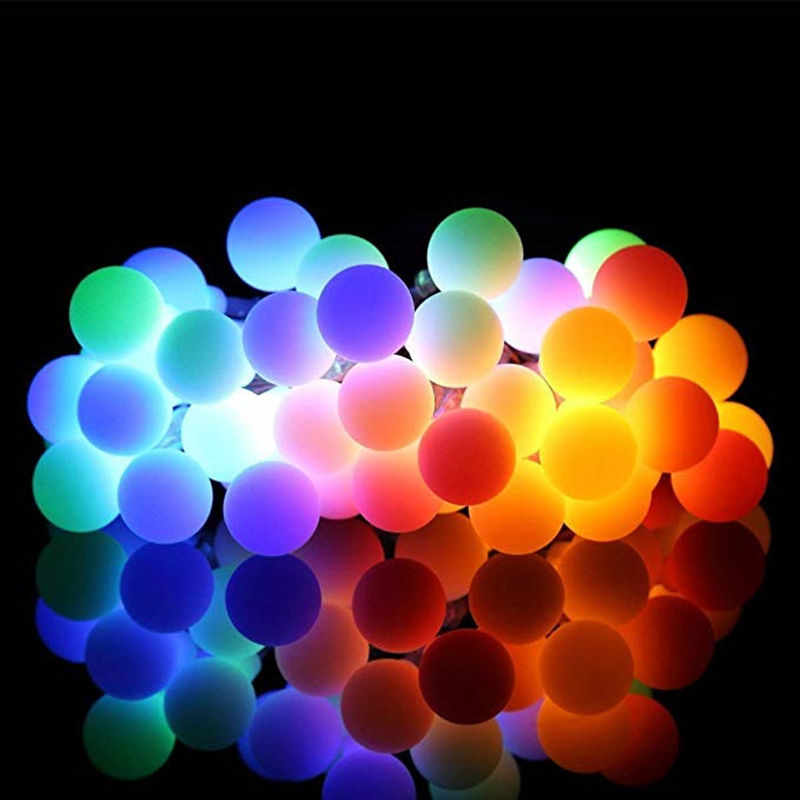 50 Leds Small White Ball Solar Lamp 10m