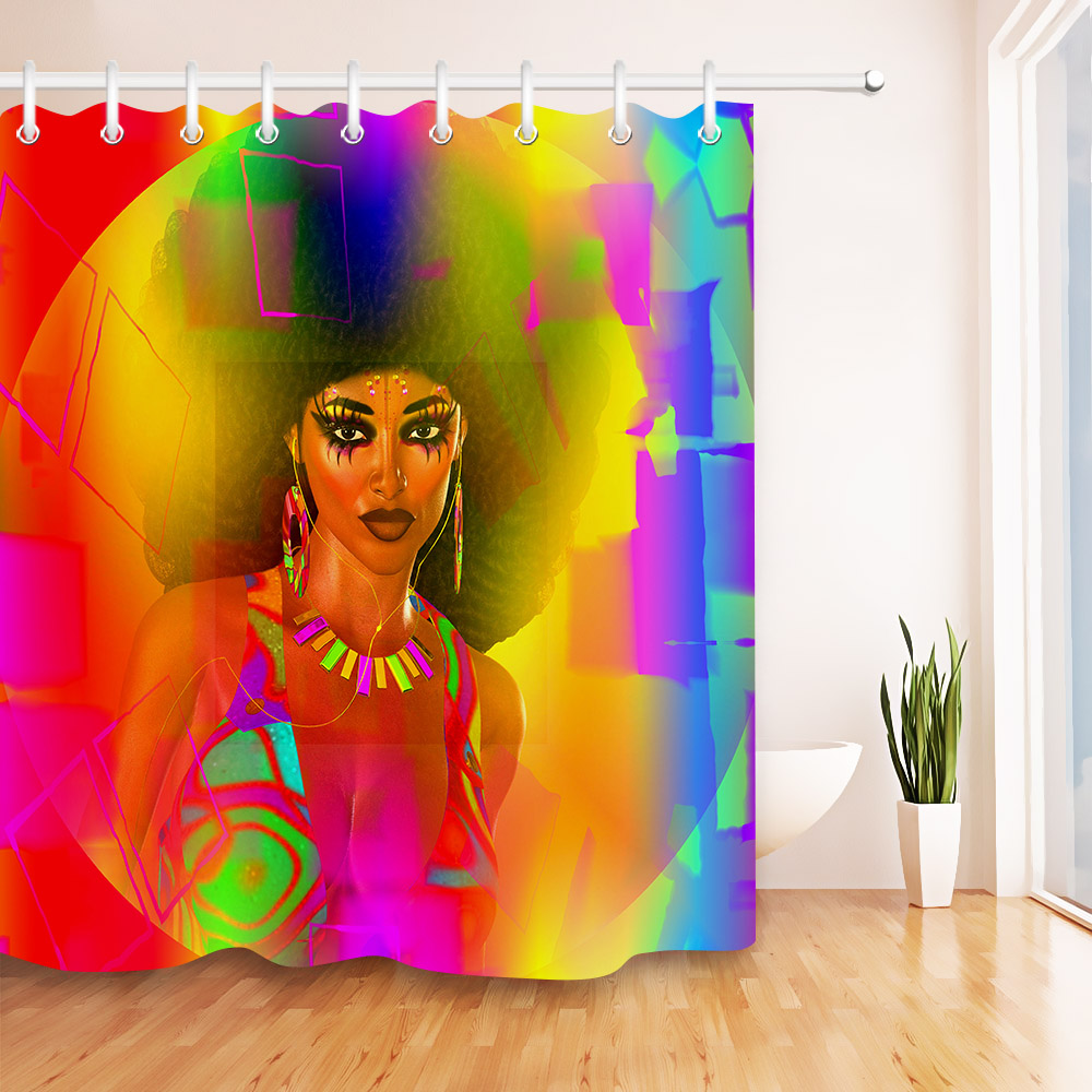 African Woman Makeup Shower Curtain Set Waterproof Fabric Bathroom w//12 Hooks