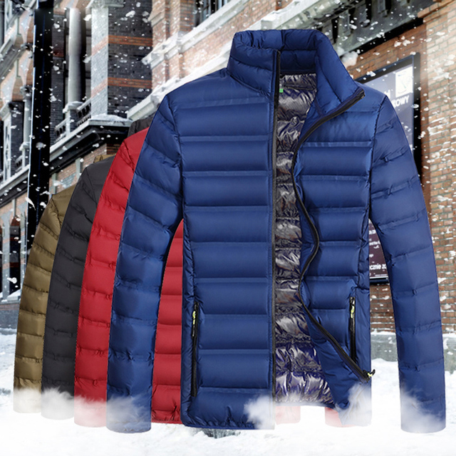 YIHUAHOO الشتاء سترة الرجال خفيفة الوزن يندبروف عادية الدافئة بارك سترة معطف الشتاء القطن مبطن سترة واقية سترة الرجال JA1611