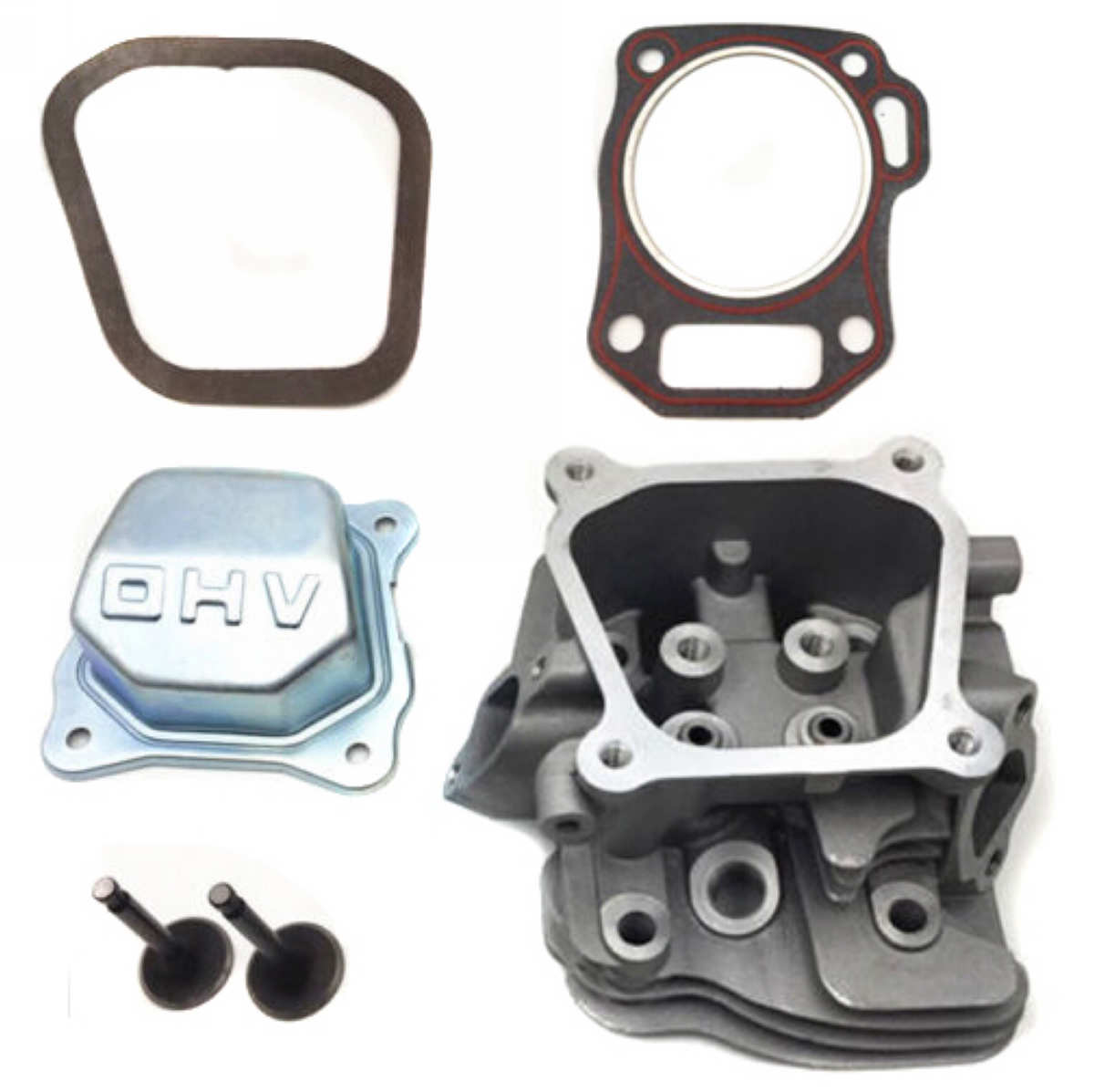 Mayitr Cylinder Head Kit For GX200 6.5HP Inlet & Exhaust Valve +  Gasket And Cover Gasket Engine Replacement Parts gy6 125cc 52 4mm scooter engine rebuild kit cylinder kit cylinder head assy for 4 stroke 152qmi moped scooter go kart atv