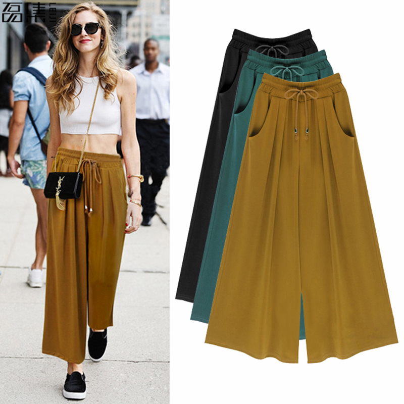 Wide Leg   Pants   women summer High Waist Casual Loose Elasticity plus size   Capris   Femme Pleated trousers for woman 6XL