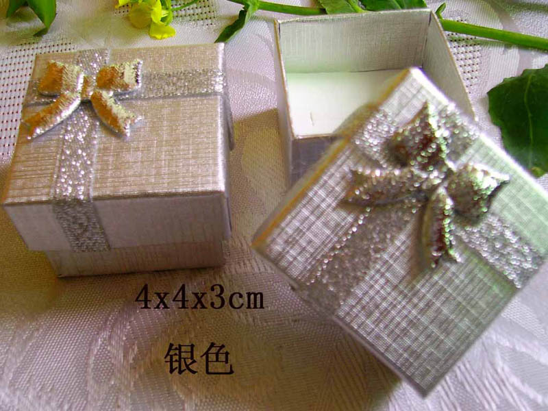 Big Promotion Discount ! Free Shipping +96pcs Silver Ring Display Box , Cute Bowknot Ring Earring Box For Wedding And Party
