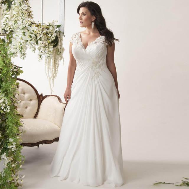 Elegant Plus Size Wedding Dresses V-neck Cap Sleeves Robe de Mariage 2019  Sweep Train Appliqued Open Back Chiffon Bridal Gown