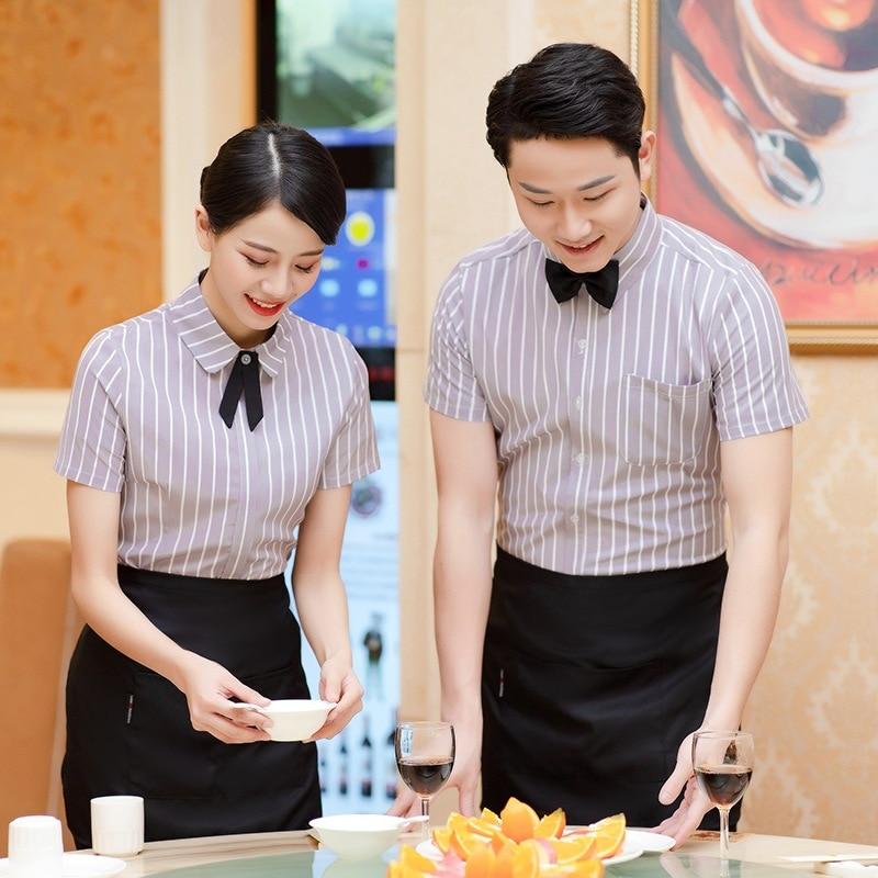Waiter Overalls Short-sleeved Hotel Chinese Tea Restaurant Uniform Shirt Catering Hot Pot Shop Summer Waitress Overalls H2215