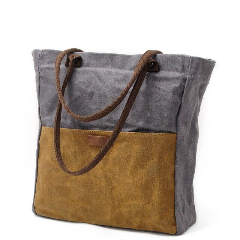 Vintage Women Oil wax Canvas Casual Tote Female Hit Color Shoulder Bags Single Shopping Bag Travel Waterproof Handbag Top Handle-in Top-Handle Bags from Luggage & Bags    1