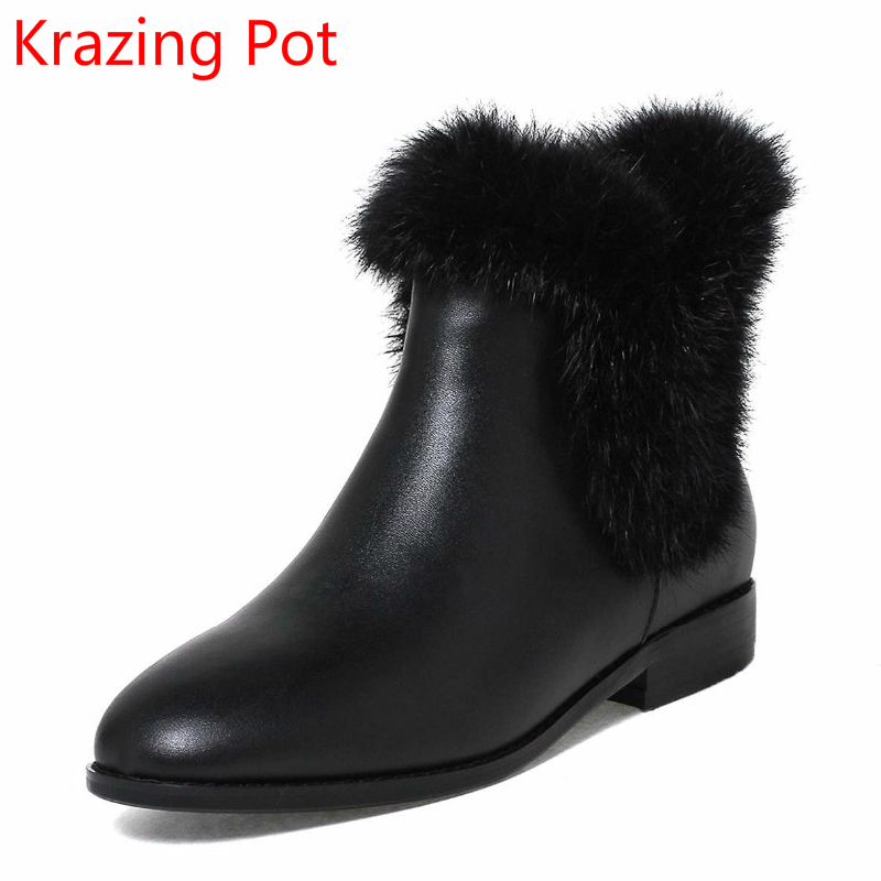 2018 Fashion Cow Leather Rabbit Fur Keep Warm Winter Boots Slip on Thick Heel Fashion Fairy Princess Ankle Boots for Women L35 velvet thick keep warm winter hat for women rabbit fur knitted beanies ladies female fashion skullies elegant hats for women