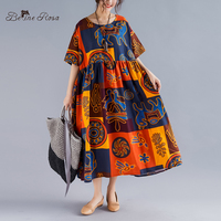 BelineRosa Retro Vintage Dresses of Big Size Summer Loose Style 2019 Plus Size Women Clothes Loose Style Women Dress TYW00980