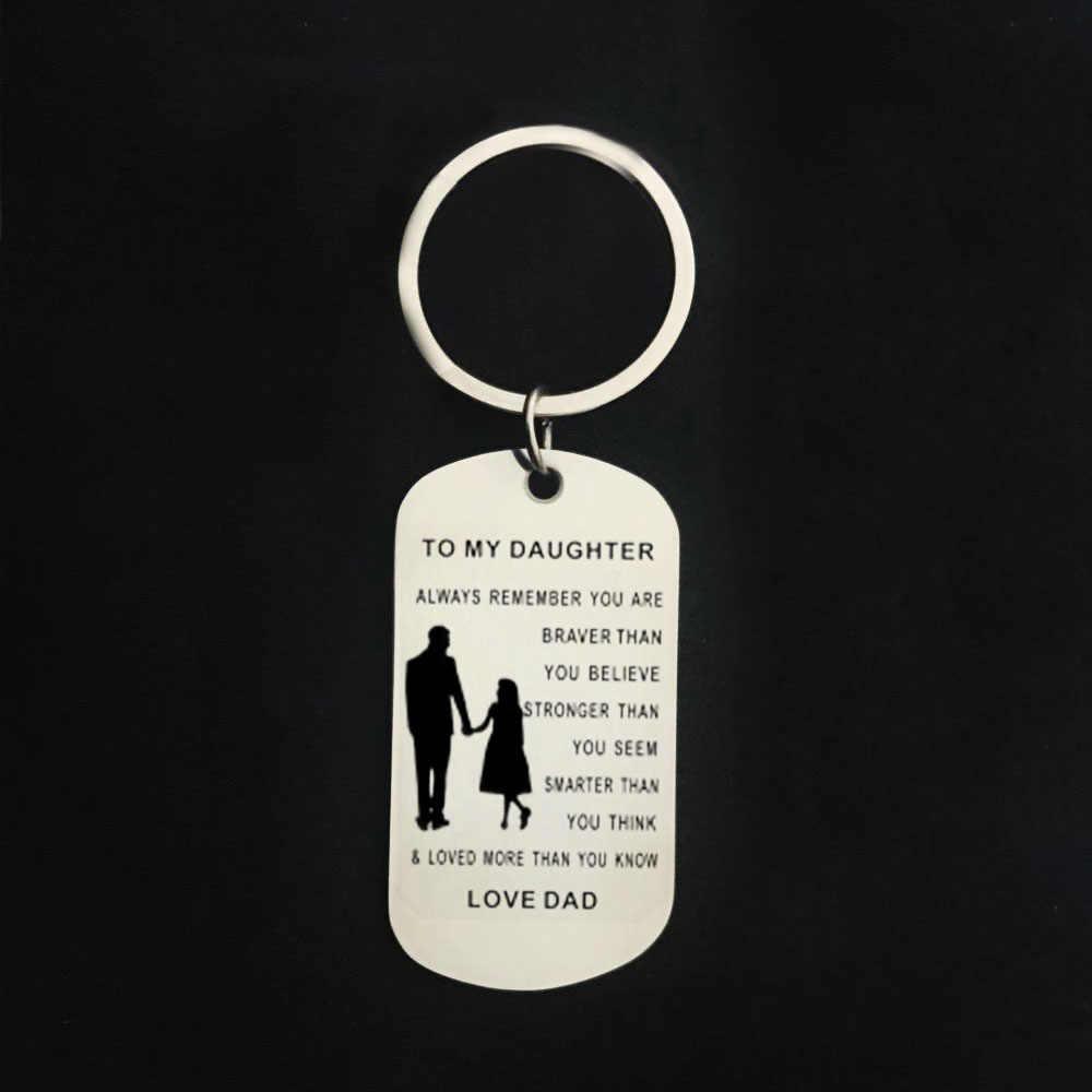 CAXYBB Hot Con Gái Tôi Tag Dog Collar Cha con gái Thép Không Gỉ Lettering keychain To my Daughter quà tặng