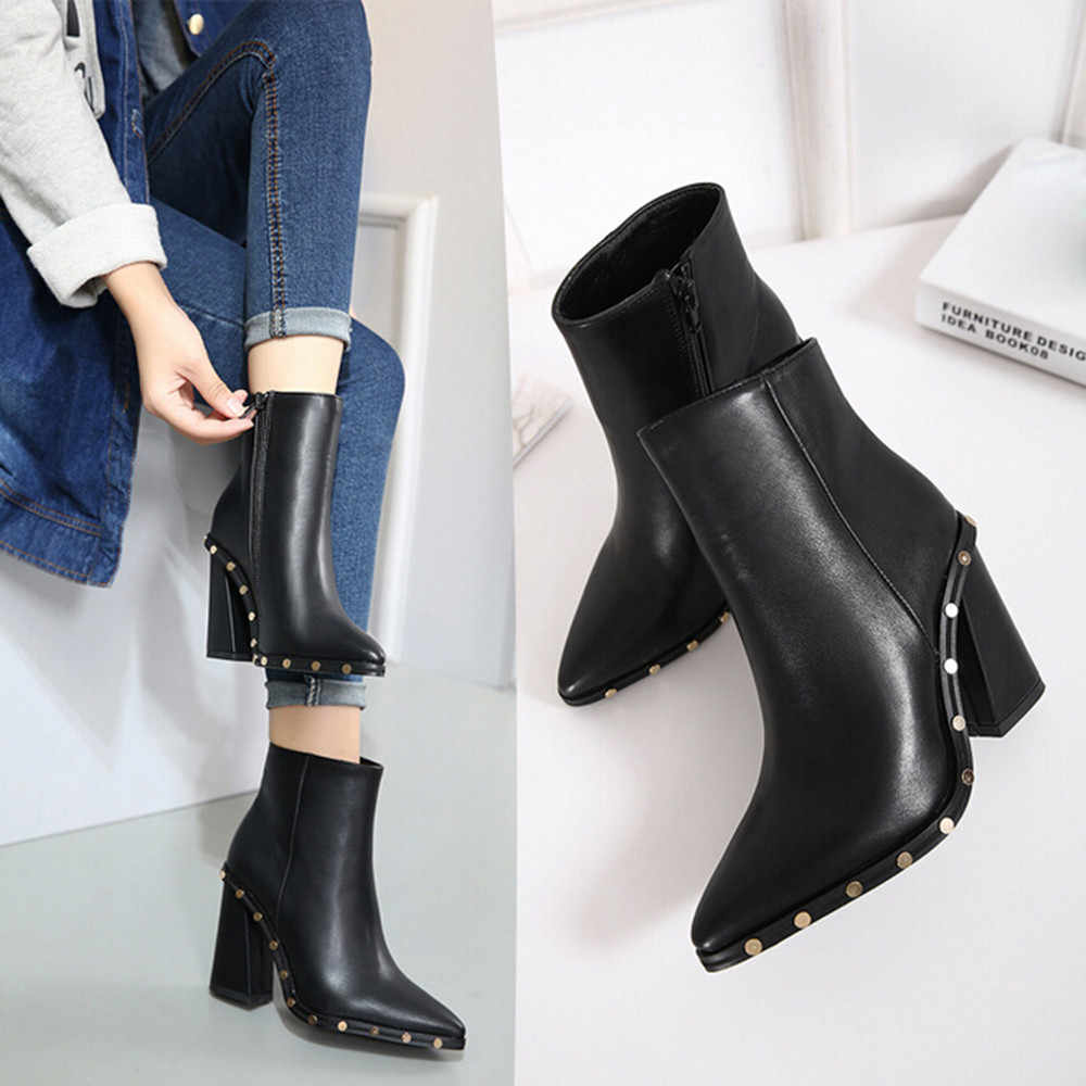 Women's Short Boots Leather 2019 Lady Winter Martin Boot Pointed Toe High Heel Stylish Ankle Shoes Rivet Side Zipper Botas Warm