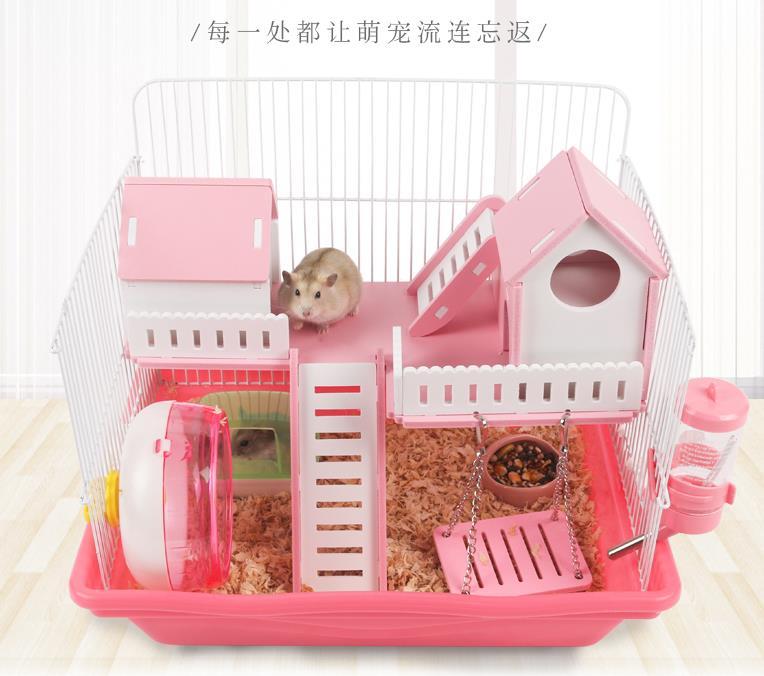 Pet Deluxe Villa, Acrylic Golden Bear Deluxe Single-deck Amusement Park, Supporting Bahroom, Silent Running Wheel,Hamster's Nest