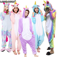 Unisex Adult Winter Pajamas 2017 Unicorn Animal Pajama Sets Sexy Hooded Homewear Flannel Sleepwear Female Cute
