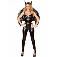 Femmes 3 Pièces Démon Cosplay Vêtements Sexy Vampire Bat Halloween Costume Noir Salopette Creux Out Combinaison