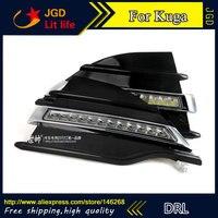 Free shipping ! 12V 6000k LED DRL Daytime running light for Ford Kuga 2013 2015 fog lamp frame Fog light