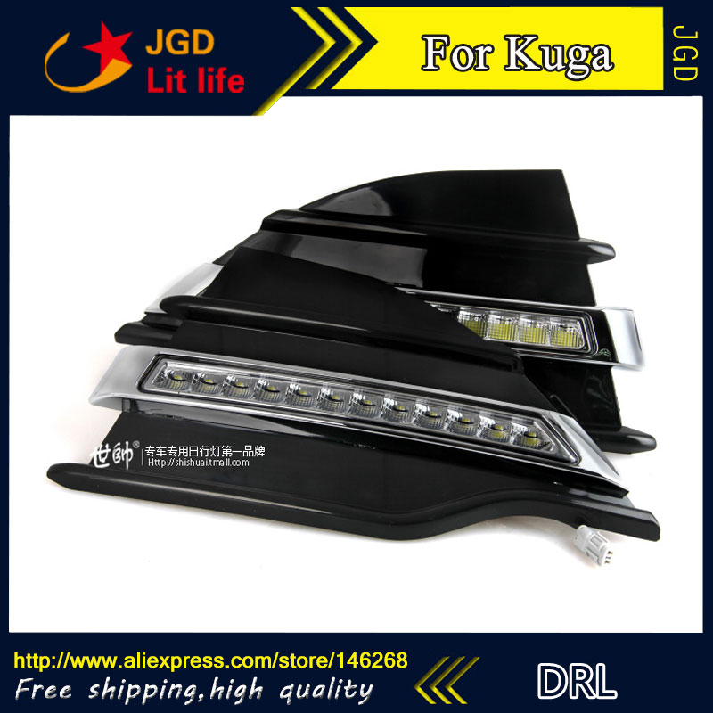Free shipping ! 12V 6000k LED DRL Daytime running light for Ford Kuga 2013-2015 fog lamp frame Fog light купить недорого в Москве