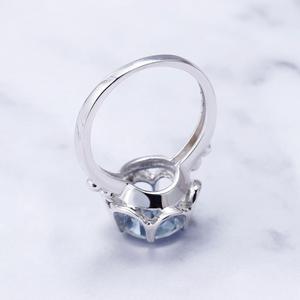 Image 3 - Gems Ballet 2.74Ct Natuurlijke Ioliet Blue Mystic Quartz Bloem Ring 925 Sterling Zilveren Verlovingsring Voor Vrouwen Fijne Sieraden