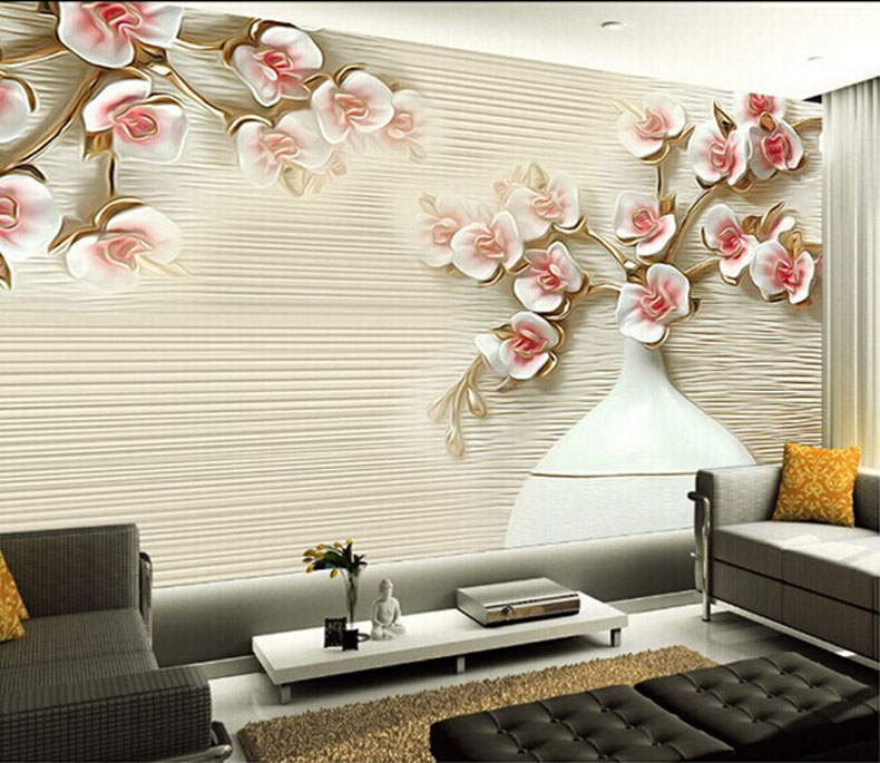 5D papel Murals embossed flower Murals 3d wall mural Wallpaper for TV background bedroom room 3d wall photo mural wall paper shinehome abstract geometric patterns photo wall paper room wallpaper 3d for livingroom 3 d wall roll background murals rolls