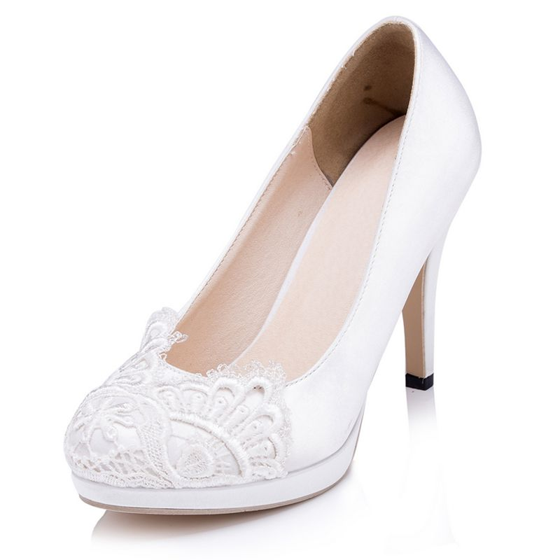 Custom White Ivory Lace font b Women b font Wedding Shoes Round Toes High Heels Platform