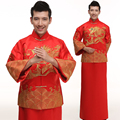 Men Chinese Style Ancient Costume Groom Tunic Red Dress Long Robe Gown Traditional Chinese Wedding Dress Tang Suit with Dragon