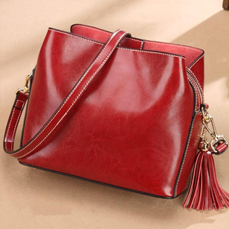 Beautiful Tassel Genuine Leather Bag Casual Shoulder Crossbody Bag Fashion Brand Designer Women Messenger Bags tassel decor crossbody bag
