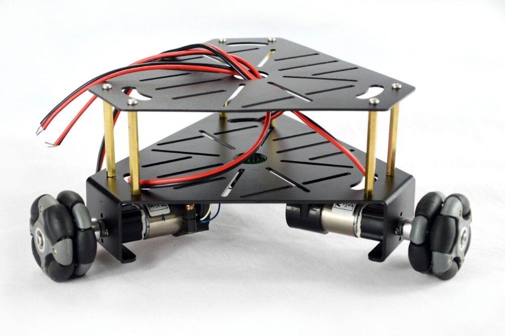 3WD 48mm Omni roue Robot Kit châssis (avec encodeur) noir 15001B