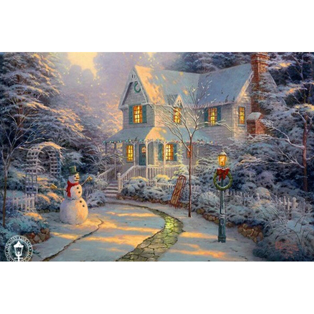 New 3D DIY Diamond Painting Winter Snowy Europe Cabin House Square Full Cross Stitch Sewing