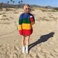 Новинка женщин свитер свободного покроя марка пуловер осень трикотажные пальто радуга в полоску корея стиль бойфренд Feminino большой размер